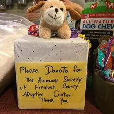 Do you know of any stores, restaurants, or other local businesses that would be willing to host a donation bank for the HSFC? We'd love your help in making donation banks and placing them around town! They don't have to be fancy -- just an easy way for folks in our community to help the animals in our care.   Here's a great example from All Star Pets!  If you're willing to help the shelter in this way, leave a comment letting us know which community institution you'll place a donation box…