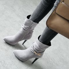 Shoespie Stiletto Heel Side Zipper Rhinestone Buckle Ankle Boot|Embellishment:Rhinestone,Buckle