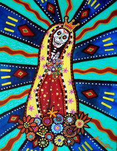 Mexican Day of the Dead  Folk Art Our Lady of Virgin by prisarts, $35.00