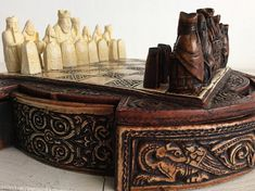 Vintage Chess Set - Celtic Chess Set - Complete Chess Set with Celtic Style Chess Pieces and Chess Board - Gift for Him - Gift for Her