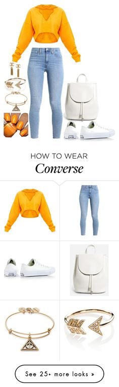 """""""Untitled #2185"""" by social-outcast-16 on Polyvore featuring Converse, Everlane, EF Collection, Floss Gloss and Alex and Ani"""