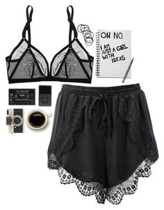 """""""Oh no."""" by amazingraceful on Polyvore featuring Eres, H&M, black, shorts, quote, camera and bralette"""