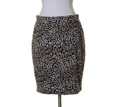 Ann Taylor Black Beige Animal Print Stretch Knit Lined Pencil Skirt Size 10P #AnnTaylor #Straight