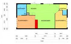 Mooie plattegrond mini bungalow, slaapkamer 2 weg voor ruimere woonkamer mantelzorgwoning - PasAan
