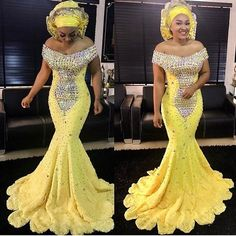 Aso Ebi Yellow Crystal Prom Dresses Gonna Long Mermaid Evening Gowns African Formal Party Dress Plus Size Lace Up Vestido Longo Sexy Dresses, Prom Dresses, Dresses Uk, Bride Dresses, Woman Dresses, Elegant Dresses, Mermaid Evening Gown, Evening Gowns, Evening Party