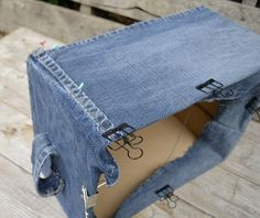 diy denim storage boxes for your bits and bobs , crafts, decoupage, organizing, repurposing upcycling, storage ideas