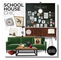 """""""Schoolhouse Chic With 4 Men 1 Lady"""" by ambervogue ❤ liked on Polyvore featuring interior, interiors, interior design, home, home decor, interior decorating, Pendleton, Crate and Barrel, Jamie Young and Pier 1 Imports"""