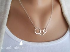Mini Sterling Silver Triple Circle Necklace  by thelovelyraindrop, $23.00