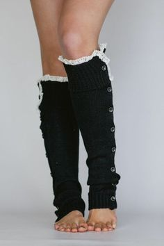 buttoned up and straight laced leg warmers in black