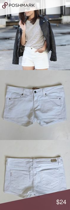 Paige Premium Denim Canyon Shorts in White Get ready for spring with these great denim shorts! They have been gently used and are not pristine but they still look great! First pic is for styling inspiration only however these could easily be distressed. Sorry, no trades. Paige Jeans Shorts Jean Shorts