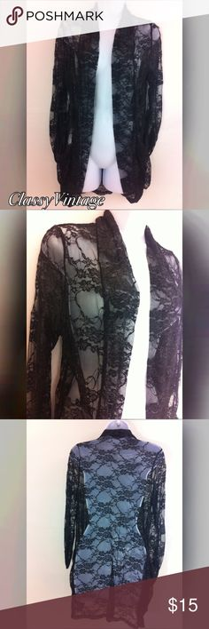 Black lace cardigan Black lace open cardigan. Long sleeves that are gathered at wrists . No rips tears or snags Mauve Jackets & Coats