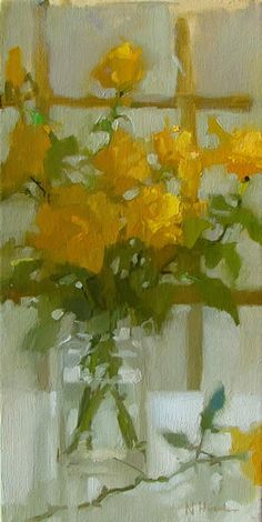 Natalie Hirschman (South Africa) ~ 'Yellow Roses'  Not the easiest subject, nor color scheme, but this is so lovely and soft and painless.  yum.