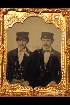 1/9 Plate Gutta Percha Ambrotype of 2 Railroad Conductors