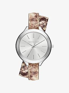Slim Runway Silver-Tone and Embossed-Leather Wrap Watch by Michael Kors