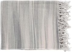 Surya Tanga 50 by 60 inches Woven Cotton Throw, Slate, Moss, Charcoal, Ivory