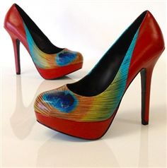 Force Majeure | Fire red pumps with a bright peacock feather in inverted colors | Hand painted by a professional artist in Seattle | Red wedding heels