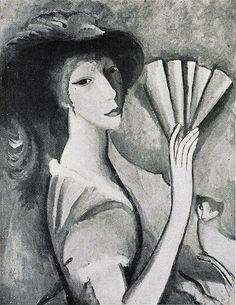 """1912, Femme à l'éventail (Woman with a Fan), black and white photograph published in Albert Gleizes, Jean Metzinger, Du """"Cubisme"""", Edition Figuière, Paris, 1912"""
