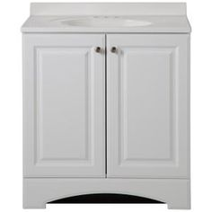 Glacier Bay Woodbrook 31 in. W x 19 in. D Bath Vanity in White Washed Oak with Cultured Marble Vanity Top in White with White Sink - The Home Depot Small Vanity, White Vanity, White Sink, White Bowl, Very Small Bathroom, Narrow Bathroom, White Bathroom, Granite Vanity Tops, Marble Vanity Tops