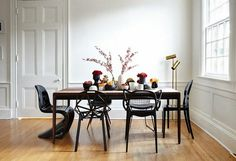 black chairs in the dining room furniture Parquet Walls Bright Idea