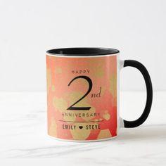 Elegant 2nd Garnet Wedding Anniversary Celebration Mug - anniversary cyo diy gift idea presents party celebration