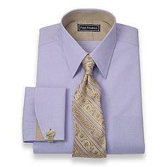 2-Ply Cotton Dot Pattern Straight Collar French Cuff Dress Shirt | Paul Fredrick