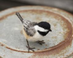 Needle felted Chickadee life size bird made ot order by Ainigmati Needle Felted Animals, Felt Animals, Bird Template, Needle Felting Tutorials, Felt Birds, Fabric Birds, Felt Patterns, Handmade Felt, Owls