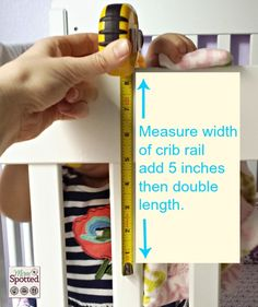 No Sew Fleece Tied Teething Crib Rail Cover Tutorial #momspotted
