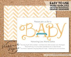 Baby Shower Invitations For Word Templates Beauteous Customizable Baby Shower Invitation Template  Little Expectance .