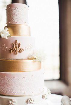Featured Photographer: Ashley Caroline Photography; Pink and gold wedding cake idea
