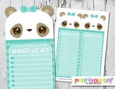 Printable Teal Panda To Do List Instant Download by Print4Yourself
