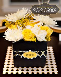 Oscars Party Printables – 2012 Nominees - I really like this centerpiece idea for a dinner party!