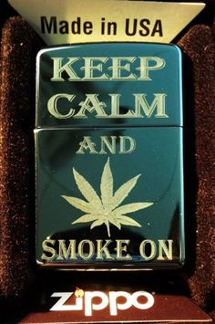 Zippo Custom Engraved Lighter - Keep Calm and Smoke on Marijuana Weed POT Leaf Ganja Logo Black Ice High Polish