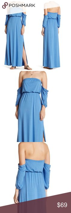"Go Couture Blue Off The Shoulder Maxi Dress NWOT Blue Go Couture Off The Shoulder Maxi Dress with 3/4 length sleeves with elastic banded cuffs, single leg split hem, and elastic banded waist. Made In USA. Length Approx 57"". Go Couture  Dresses Maxi"