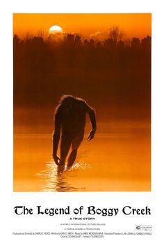 "Find more movies like The Legend of Boggy Creek to watch, Latest The Legend of Boggy Creek Trailer, A documentary-style drama about the ""Fouke Monster"", a Bigfoot-type creature that has been sighted in and around Fouke, Arkansas since the Horror Movie Posters, Sci Fi Horror, Horror Films, Horror Art, Horror Books, Bigfoot Movies, Creepiest Horror Movies, Creepy Movies, Cryptozoology"
