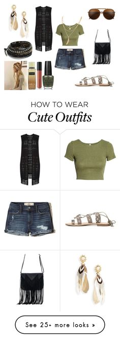 """Cute Coachella Outfit"" by holly32196-1 on Polyvore featuring Hollister Co., Dorothy Perkins, H&M, WithChic, Gas Bijoux, Chan Luu, OPI, Bare Escentuals and Victoria's Secret"