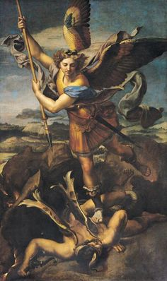 """St. Michael Overwhelming the Demon"" (1518) raphael sanctius"