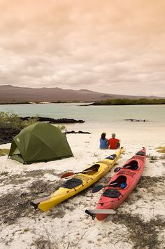 Nothing more romantic than camping on the Galapagos Islands and Kayaking together throughout! ROW Adventures is the only company allowed to camp on the Islands! #Galapagos #Island #Camping #beach #couples #vacation #honeymoon