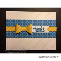White Striped Thanks Alternate Paper Pumpkin Card Using Stampin' Up! April 2015 Love You A Lot Kit/ www.stampinwithlinda.com