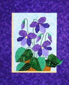 "Violets - Foundation Paper Piecing Pattern - 13"" x 15"" Quilt Block - - PaperPiecedQuilting.com"