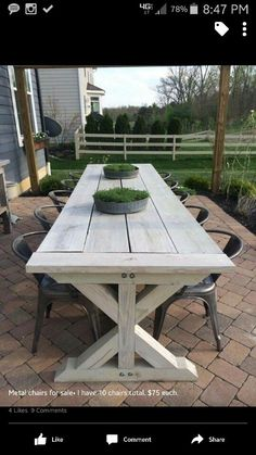 Rustic Outdoor Patio Table Design Ideas On A Budget Beautiful farmhouse table Back Patio, Small Patio, Backyard Patio, Pergola Patio, Diy Patio, Outdoor Tables, Outdoor Spaces, Outdoor Decor, Outdoor Farmhouse Table