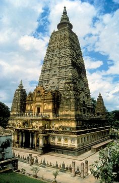 Mahabodhi Temple:  The site of Shakyamuni Buddha's enlightenment is commemorated by the Mahabodhi Temple at Bodh Gaya, Bihar State, India. Various dates, 5th century to present. Its present form is from a late-19th century British Archaeological Survey restoration.