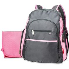 Fisher-Price Ripstop Backpack Diaper Bag, Grey/Pink - Walmart.com