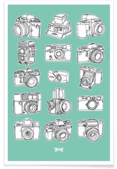 All kind of camera illustration. Camera Mint Art Print by Egotrips now on Juniqe.com | Art. Everywhere.