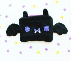 Bat Pouch - Kawaii Pencil Case , Cute Make Up Pouch, Coin Purse, Pencil Pouch, 3DS Case, Phone Case, Halloween Trick or Treat Bag https://www.etsy.com/listing/233369640/bat-pouch-kawaii-pencil-case-cute-make