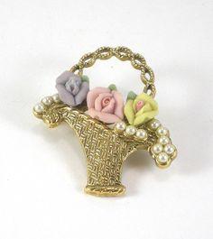 Vintage Gold Basket Porcelain And Pearl Flower Brooch by paleorama, $22.00