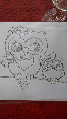 Mama n baby owl Embroidery Patterns, Hand Embroidery, Quilt Patterns, Tole Painting, Fabric Painting, Colouring Pages, Coloring Books, Owl Crafts, Owl Art