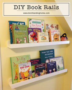 Easy DIY Book Rails - great storage solution for kids rooms, nursery.