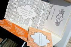 Designed by Byrd+Bleeker, letterpress printing by Smock, this richly patterned invitation set featured custom handlettering by moi.
