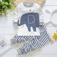 2017 Spring infant boys baby clothes outfits brand cotton animal elephant suit baby boys clothing pajamas sports suit 2pcs sets
