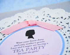 Little Girl Bithday Tea Party Invites